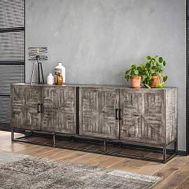 Loft Style Sideboard in Grau mit Antik Finish