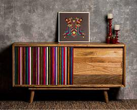 Sideboard in Braun Bunt gestreift massiv
