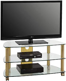 TV-RACK Metall, Glas Klar, Messingfarben