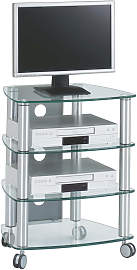 TV-RACK Metall, Glas Klar