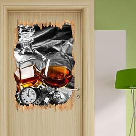 Wandtattoo Whiskey und Uhr East Urban Home